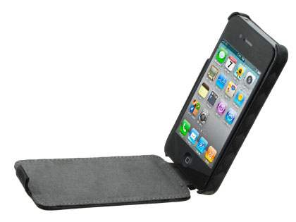 iPhone 4S / 4 Slim Synthetic Leather 3D Design Flip Case - Classic Black