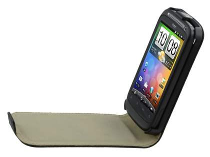 HTC Desire S Slim Synthetic Leather Flip Case - Classic Black