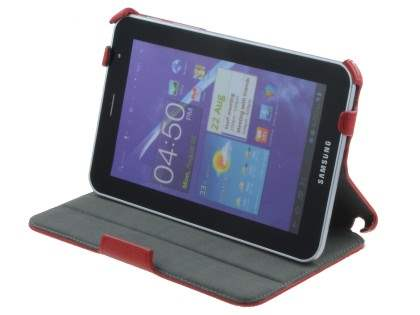 Synthetic Leather Flip Case with Dual-Angle Stand for Samsung Galaxy Tab 7.0 Plus - Red Leather Flip Case