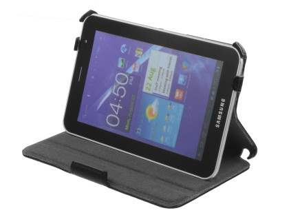Synthetic Leather Flip Case with Dual-Angle Stand for Samsung Galaxy Tab 7.0 Plus - Classic Black Leather Flip Case