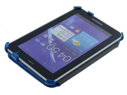 Premium Samsung Galaxy Tab 7.0 Plus Slim Synthetic Leather Flip Case with Dual-Angle Stand - Sky Blue