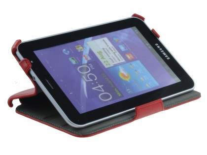 Premium Samsung Galaxy Tab 7.0 Plus Slim Synthetic Leather Flip Case with Dual-Angle Stand - Red