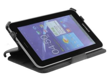 Premium Samsung Galaxy Tab 7.0 Plus Slim Synthetic Leather Flip Case with Dual-Angle Stand - Classic Black