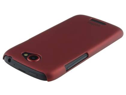 Vollter HTC One S Ultra Slim Rubberised Case plus Screen Protector - Red