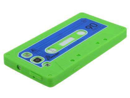 Samsung I9300 Galaxy S3 Cassette Tape Style Silicone Case - Green/Blue