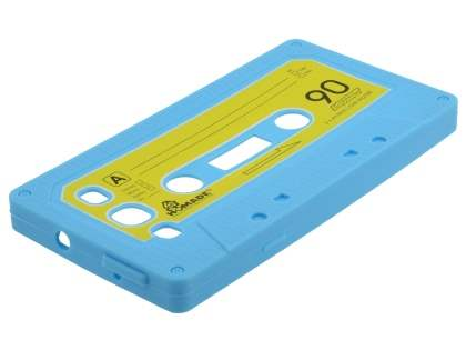 Cassette Tape Style Silicone Case for Samsung I9300 Galaxy S3 - Sky Blue/Yellow