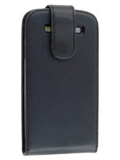 Synthetic Leather Flip Case for Samsung I9300 Galaxy S3 - Classic Black Leather Flip Case