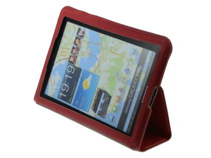 Ultra-Slim Synthetic Leather Case for Samsung Galaxy Tab 7.7 P6800 - Red Leather Flip Case