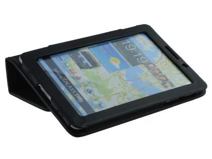 Synthetic Leather Flip Case with Fold-Back Stand for Samsung Galaxy Tab 7.7 P6800 - Classic Black