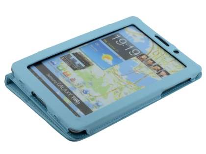 Samsung Galaxy Tab 7.7 P6800 Synthetic Leather Flip Case with Fold-Back Stand - Sky Blue