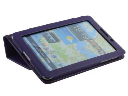 Samsung Galaxy Tab 7.7 P6800 Synthetic Leather Flip Case with Fold-Back Stand - Purple