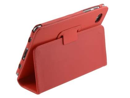 Synthetic Leather Flip Case with Fold-Back Stand for Samsung Galaxy Tab 7.7 P6800 - Red Leather Flip Case