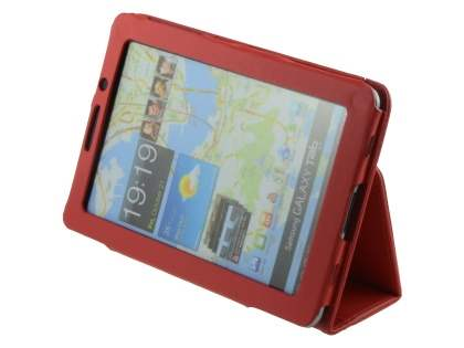 Samsung Galaxy Tab 7.7 P6800 Synthetic Leather Flip Case with Fold-Back Stand - Red