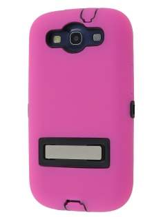 Defender Case with Stand for Samsung I9300 Galaxy S3 - Pink/Black Impact Case