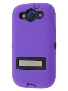 Defender Case with Stand for Samsung I9300 Galaxy S3 - Purple/Black Impact Case