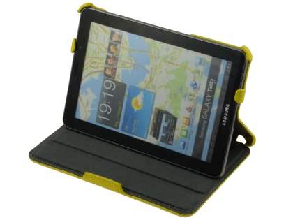 Premium Samsung Galaxy Tab 7.7 P6800 Slim Synthetic Leather Flip Case with Dual-Angle Tilt Stand - Canary Yellow