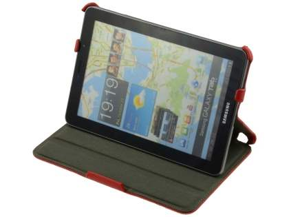 Premium Samsung Galaxy Tab 7.7 P6800 Slim Synthetic Leather Flip Case with Dual-Angle Tilt Stand - Red