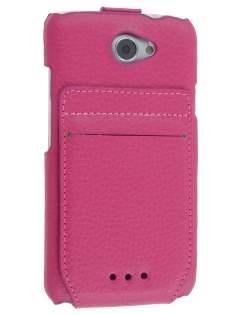 Genuine Leather Flip Case with Stand & Card Pocket for HTC One X / XL / X+ - Pink Leather Flip Case