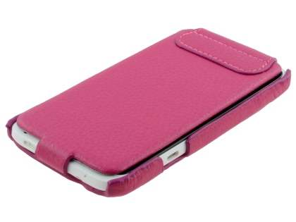 HTC One X / XL / X+ Slim Genuine Leather Flip Case with Stand & Card Pocket - Pink