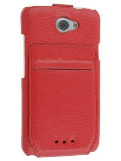 Genuine Leather Flip Case with Stand & Card Pocket for HTC One X / XL / X+ - Red Leather Flip Case
