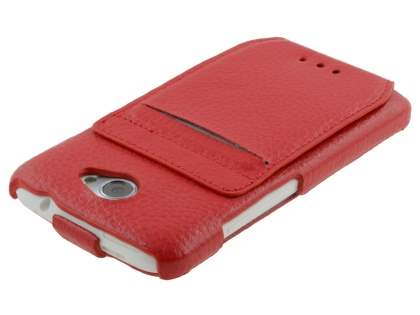 HTC One X / XL / X+ Slim Genuine Leather Flip Case with Stand & Card Pocket - Red