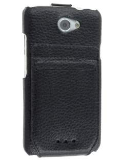 Genuine Leather Flip Case with Stand & Card Pocket for HTC One X / XL / X+ - Classic Black Leather Flip Case