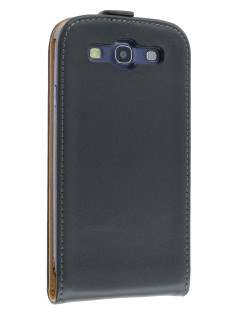 Slim Genuine Leather Flip Case for Samsung I9300 Galaxy S3 - Classic Black Leather Flip Case