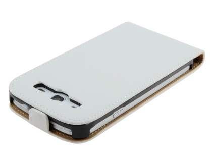 Slim Genuine Leather Flip Case for Samsung I9300 Galaxy S3 - Pearl White