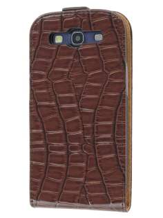 Samsung I9300 Galaxy S3 Slim Synthetic Crocodile Skin Leather Flip Case - Brown
