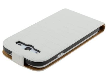 Samsung I9300 Galaxy S3 Slim Synthetic Crocodile Skin Leather Flip Case - Pearl White