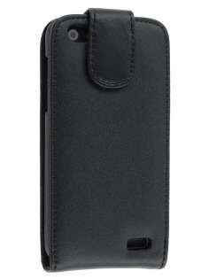 Genuine Leather Flip Case for HTC One V - Black Leather Flip Case