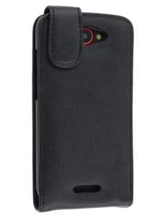 Genuine Leather Flip Case for HTC One S - Black Leather Flip Case