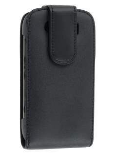 BlackBerry Torch 9860 Genuine Leather Flip Case - Black Leather Flip Case
