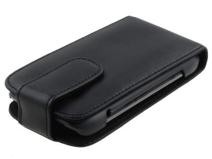 Genuine Leather Flip Case for BlackBerry Torch 9860 - Black