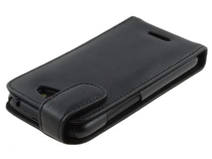 Genuine Leather Flip Case for HTC One S - Black