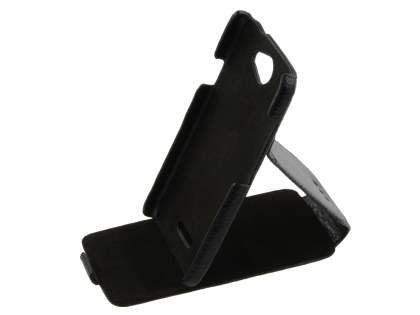 Genuine Leather Flip Case with Stand & Card Pocket for HTC One X / XL / X+ - Classic Black