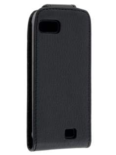 Slim Synthetic Leather Flip Case for Nokia C3-01 - Classic Black Leather Flip Case