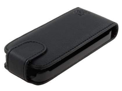 Slim Synthetic Leather Flip Case for Nokia C3-01 - Classic Black