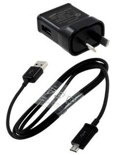 Genuine Samsung 3-in-1 Micro USB Sync Cable - Black AC Wall Charger