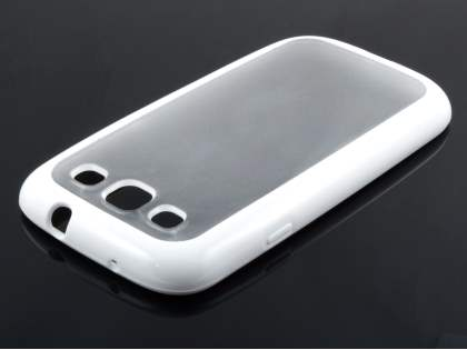 Samsung I9300 Galaxy S3 Dual-Design Case - White/Frosted Clear