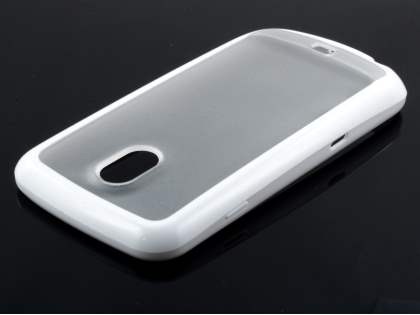 Samsung I9250 Google Galaxy Nexus Dual-Design Case - White/Frosted Clear