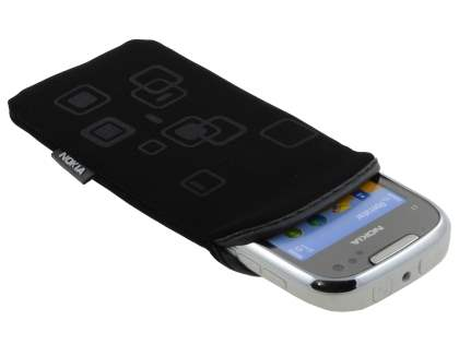 Stylish Protective Textile Sleeve for Nokia C7 - Classic Black