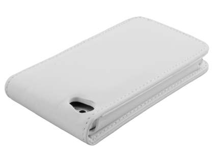 Synthetic Leather Flip Case for iPod Touch 4 - Pearl White