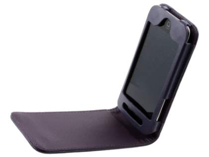 iPod Touch 4 Synthetic Leather Flip Case - Purple