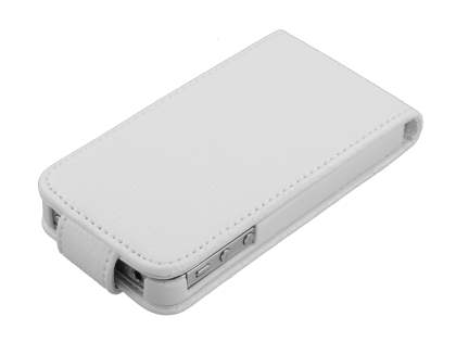 iPhone 4S/4 Synthetic Snakeskin Leather Flip Case - White