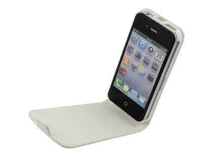 iPhone 4S/4 Slim Synthetic Leather Flip Case - White