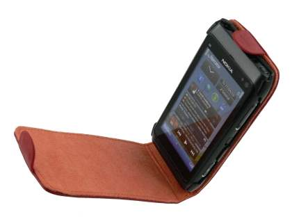 Genuine Leather Flip Case for Nokia N8 - Red