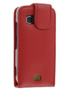 Genuine Leather Flip Case for Nokia C5-03 - Red Leather Flip Case