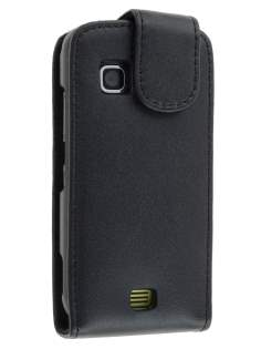 Genuine Leather Flip Case for Nokia C5-03 - Classic Black Leather Flip Case