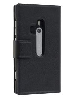 Slim Genuine Leather Portfolio Case for Nokia Lumia 800 - Classic Black Leather Wallet Case